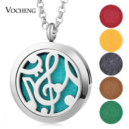 Wholesale Aroma Circle - Aroma Diffuser Locket Necklace Perfume 30mm 316L Stainless Steel Magnetic Musical Note without Felt Pads VA-260