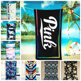 Wholesale Wholesale Sports Swimwear - Pink Letter Beach Towel 145*75cm Fitness Sports Towel VS Pink Bath Towel Leopard Flower Swimwear Bathroom Towels 8 styles OOA1718