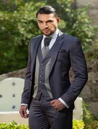 Wholesale Ceremony Suits Men - Wholesale- 2017 One Button Slim Fit Customized Charcoal Wedding Ceremony Mens Suit Groom Tuxedos bridegroom ( Jacket+Pants+Tie+Vest)
