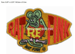 Wholesale Motors Jacket - BIG DADDY RAT FINK PATCH CAFE RACER HOT ROD MC OUTLAW CHOPPER MOTOR Embroidered IRON ON BIKER VEST LEATHER JACKET RED GREEN
