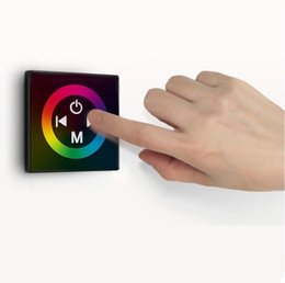 Wholesale Touch Wall Dimmer - Rainbow RGB Controller Wall Mounted LED RGB Touch Dimmer Panel Full Color Controller DC12 4A * 3CH For 5050 3528 3014 RGB Strip Lights