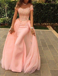 Wholesale Little Mermaid Top - Elegant Long Pink Lace Evening Dress 2017 Mermaid Scalloped Cap Sleeve Top Lace Floor Length Pink Arabic Style Evening Dresses Custom Made