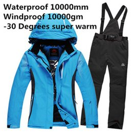 Wholesale Woman Orange Ski Jacket - Wholesale- Winter Snow Warm pure colors skiing Clothing women ski suit set jackets + pants outdoor waterproof & windproof Snowboard Custome