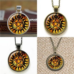 Wholesale Glasses Tattoo - 10pcs Winchester anti demon tattoo Supernatural Glass Photo Necklace keyring bookmark cufflink earring bracelet