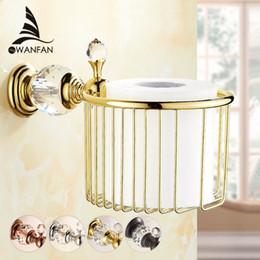 Wholesale Golden Bathroom Accessories - Golden Crystal Wall Mounted Bathroom Accessories Paper Holders Bathroom Basket Crystal & Glass Tissue Holder Free Shipping HK-35