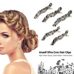 großhandel haar krokodil clips Rabatt Großhandels-5Pcs Croc Haarspangen Schellen Crocodile Hairdressing Salon Schellen Haarschnitt Grip Clips Zebra Kunststoff Hair Styling Tool