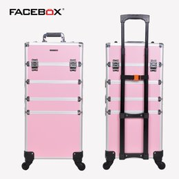 Wholesale Makeup Trolley Bags - Wholesale- Facebox 4 in 1 Trolley Trolley Makeup Box Beauty Case with wheels Professional makeup box Black and pink with Universal Wheels