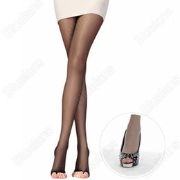Wholesale Pantyhose Toes - Wholesale- 2016 Open Toe Pantyhose Sexy Charming Women's Tights Stockings 4Color Fashion Female Transparent Long for Spring Fall 8MH2