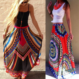 Wholesale Straight Long Skirts Women - Women Skirt 2017 Autumn Thailand Wind Style Travel Beach Long Skirt Printed and Put On Large Spot Color Skirts