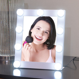 Wholesale Makeup Mirror Bulb - Adjustable 9LED Lighted Bulbs Makeup Mirror Touch Screen Beauty Salon Vanity Tabletop Lamp Mirror