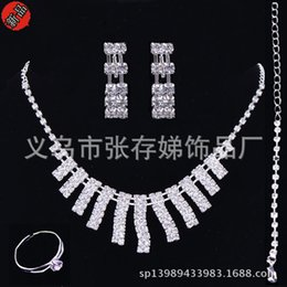 Wholesale Earring Stud Setting - Cheap Bridal Jewelry Sets Silver Crystal Pendants Necklaces and Drop Chandelier Stud Rhinestones Earrings Fashion For Party Prom Under 5