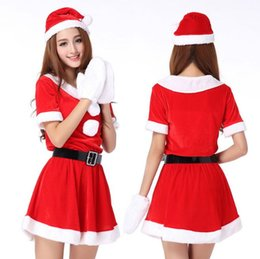Wholesale Dress Baby Adult Size - Women's Santa Baby Costume Quesera Miss Santa Suit Adult Sweetie Christmas Halloween Party Costume Dress Free Size Fit for 150-175CM