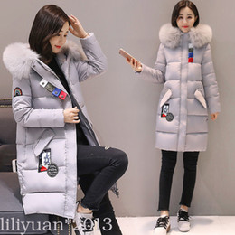 Wholesale Long Puffer Coats Women - 2017 new TOP Real Womens Ladies Quilted Winter Coat Puffer Fur Collar Hooded Jacket Parka XS-L
