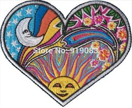 Wholesale heavy sewing - HEART MOON SUN Dan Morris Art Hippie Band patch Heavy Metal Music Rock Punk Rockabilly sew on iron on transfer badge