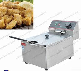 Wholesale Fried Deep - NEW 6L Commercial Single-cylinder Open Fryer Chicken Frying Equipment Commercial Deep Fryer FREE SHIPPING MYY