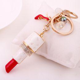 Wholesale Romantic Gifts Lovers - New 2016 Fashion Charm Lipstick Keychain Shining Lovers Female Sexy Gift Rhinestone Pretty Car Keyring Noble Pendant Free Shipping