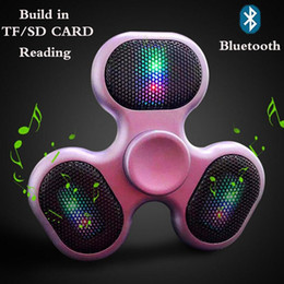 Wholesale Fingers Music - New Support SD TF card speaker Hand Spinner bluetooth music fidget spinner creative funny Finger spinner speaker Colorful LED HandSpinner