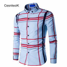 Wholesale Wholesale Slimming Products - Wholesale- 2017 New Trendy Products All Match European And American Style Big Plaid Digital printed Mens Cotton Slim Shirts B082