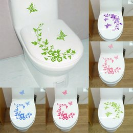 Wholesale Furniture Wall Decal - 5Colors Butterfly Flower Bathroom Toilet Laptop Wall Decals Decorative Sticker Home Furniture Decoration Washing Machine Sticker WA1454