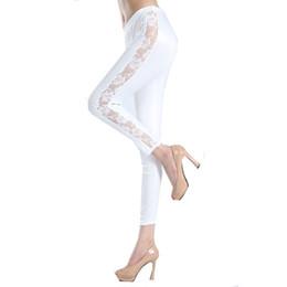 Wholesale Ladies Capris Lace Leggings - Wholesale- Adult Black White Lace Cut Out Nine Thigh Slimming lace leggings S7878 Ladies Plus Size High Stretched Fitness Leggings Capris