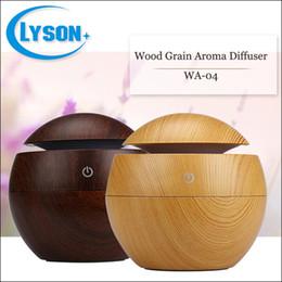 Wholesale Mini Led Color Changing Light - Wood Grain 130Ml Plastic Cool Mist Essential Oil Personal Humidifier Color-Changing Led Light Mini Aromatic Diffuser
