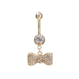 Wholesale Dangle Navel Bars - Sexy Dangle Belly Bars Belly Button Rings Belly Piercing CZ Crystal Bowknot Body Jewelry for Sexy LadiesFree Shipping