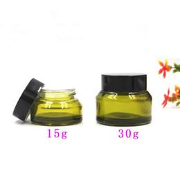 bocaux cosmétiques en verre vert Promotion Haute qualité 30g bouteille en verre de crème verte haut de gamme oblique, petits pots cosmétiques 15g, pots de crème en verre vides F2017854