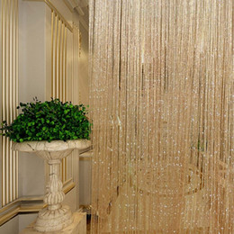 Wholesale Decoration Screen - Tassel Glitter Curtains String Champagne for Living Room Window Door Shower Curtain Divider Panels Screen Drape Decoration