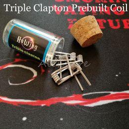 Wholesale Ecig Plastic Bottles - Triple Clapton Prebuilt Coil Wire 0.2ohm 6pcs Coils in One Plastic Bottle Premade Wrap Parallel Wires Heating Resistance for Ecig Vape RDA