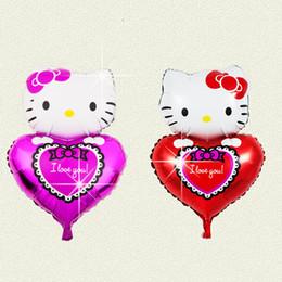 Wholesale Aluminum Balloon Cartoon - New hold heart Kitty balloon aluminum foil balloon wedding arrangement opened