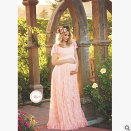 Wholesale Autumn Photography Woman - Lady lace dreses Maternity falbala short sleeve long dress bohemia style women beach photography props summer pregnant dress R0583