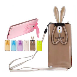 Wholesale Cover Note Rabbit - Rabbit Ear Stand TPU Case For Samsung S4 S5 S6 Edge Note 3 5 Note4 iPhone Clear Transparent Dustproof Cover & Neck Lanyard DHL