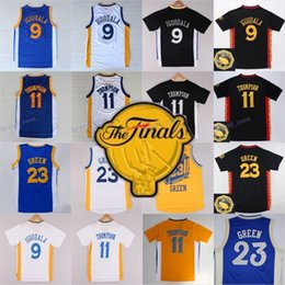 Wholesale Final Black - 2017 Final Patch 9 Andre Iguodala 23 Draymond Green 11 Klay Thompson Basketball Jersey Throwback Blue White Black Yellow All Stitched