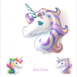 Wholesale Unicorn Balloon - Birthday Party Decorations kids Foil Balloons 39inch Latex Unicorn Balloon Party Supplies Wedding Halloween Christmas