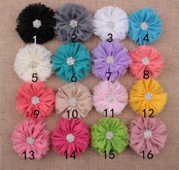 Wholesale Diamond Head Bands - kids Baby girls pearl diamond chiffon flower Headband Headwear Hair Band Head Piece Accessories YH565