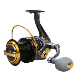 Wholesale saltwater fish reels - Big Fishing Reel Spinning Reel TF8000 9000 10000 11000 Metal Spool Ocean Sea Long Shot Carp Fishing Wheel CNC Handle 12+1BB