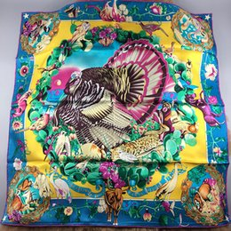 Wholesale flower wrapping materials - New 90CM*90CM 100% silk material print Texas flower bird square scarf for women