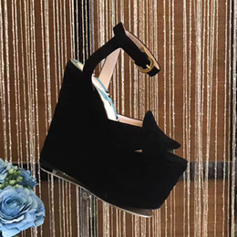 Wholesale Hollow Wedge Heels - 14cm High quality Heels Platform Women's Shoes Nubuck leather waterproof Taiwan wedges nightclub hollow out women's sandals black and red