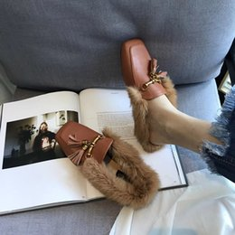 Wholesale Tassel Comfortable Flats - European Famous Brand Women Real Rabbit Fur Slippers Tassel Designer Home Slides Cozy Comfortable Fur Sandals Ladies House Flip Flops CR59