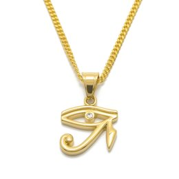 Wholesale Necklace Small Crystal Pendant - Hip Hop Small Size Wedjat Eye Pendant Necklace 24inch Gold Tone Ice Out Crystal Baby Cherub Charm Pendant Necklace