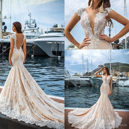 Wholesale Deep V Back Wedding - 2017 New Arrival Lace Mermaid Wedding Dresses Sexy Deep V neck See Through Back Applique Court Train Bridal Gown Wedding Party Custom