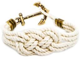 Wholesale Anchor Bracelet Cotton Rope - Original Logo Fashion Wristband Bronze Braided Anchor Bracelet Bangle Women Men Cotton Rope Hook Bracelet Wholesale 2016