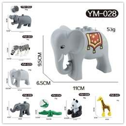 Wholesale Wholesale Elephant Plastic Toys - free shipping animals Series elephant panda giraffe animals Large Particle Building Blocks Kids Toys gift Compatible with Legoe Duplo