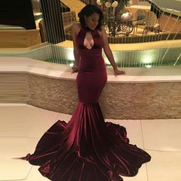 Wholesale Keyhole Cut Out - Velvet Burgundy Prom Dresses 2017 Black Girl Sexy Mermaid Prom Evening Party Gowns Cut Out vestidos de fiesta