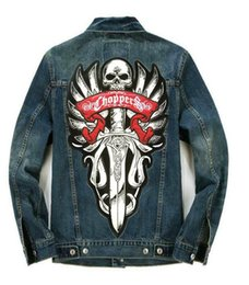 Wholesale Large Motorcycle Patches - Men's Motorcycle Biker Denim Jacket Punk Skeleton Sword Large Patch Embroidered Single Breasted Lapel Ride Coat M-3XL
