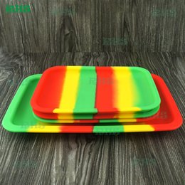 Wholesale Rolls Storage - Wholesale Silicone Tobacco Rolling Tray 20cm*15cm*1.4cm Handroller Rolling Trays Rolling Case Machine Tools Tobacco Storage Tray