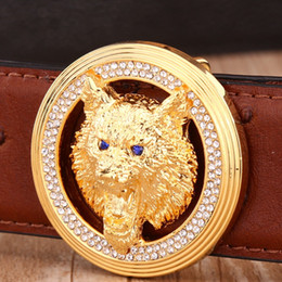 Wholesale Hot New Designers Wholesale - Wholesale- solid brass buckle genuine leather strap 2017 new hot designer belts men high quality luxury gold jaguar famous brand tiger wolf