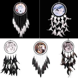 Wholesale Indian Style Decor - Handmade Dreamcatcher Indian Style Eagle Wolf Pattern Feather Bead Dream Catcher Home Living Room Hanging Decor Ornament Art Crafts Gift