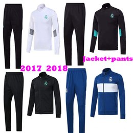 Wholesale Training Soccer Uniforms - New 2017 2018 Real Madrid Home White away Blue black training suits Uniforms Jackets+Pants Tracksuit 17 18 Football Survetement Hoodies