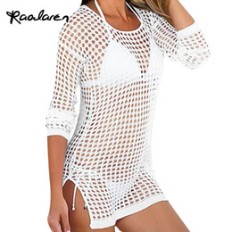 Wholesale White Mesh Bathing Suit - Raodaren 2017 Summer Women Sexy Mesh Knitted Crochet Beach Tops T Shirts Swimsuit Cover Up Swimwear Bikini Wrap Bathing Suit